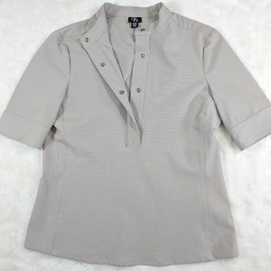 UniqueCK snap button short sleeve top in Taupe